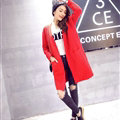 Winter Sweater Wowen Cardigan Solid Coat Thick Loose Sleeved Warm - Red