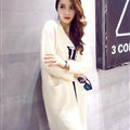 Winter Sweater Wowen Cardigan Solid Coat Thick Loose Sleeved Warm - White