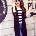 Winter Sweater Wowen Solid Flat Knitted Hollow Long Loose Coat Cardigan - Black