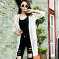 Winter Sweater Wowen Solid Flat Knitted Hollow Long Loose Coat Cardigan - White