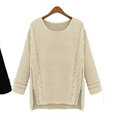 Winter Sweater Zipper Loose Knit Female Thickened Solid - Beige