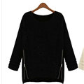Winter Sweater Zipper Loose Knit Female Thickened Solid - Black