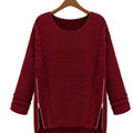 Winter Sweater Zipper Loose Knit Female Thickened Solid - Red