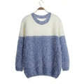 Winter Sweaters Thick Knitted O-Neck Hot Color Mohair Female - Blue