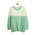 Winter Sweaters Thick Knitted O-Neck Hot Color Mohair Female - Green