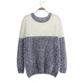 Winter Sweaters Thick Knitted O-Neck Hot Color Mohair Female - Grey