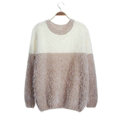 Winter Sweaters Thick Knitted O-Neck Hot Color Mohair Female - Khaki