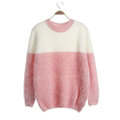 Winter Sweaters Thick Knitted O-Neck Hot Color Mohair Female - Pink