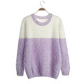 Winter Sweaters Thick Knitted O-Neck Hot Color Mohair Female - Purple