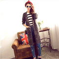 Winter Women Loose Sweater V-Neck Hand Knitted Cardigan Long Sleeved - Black