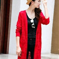 Winter Women Sweater V-Neck Cardigan Solid Coat Dress Long - Red