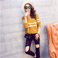 Women Fashion Sweater Sleeve Short Slim Solid O-Neck Thick - Khaki