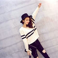 Women Fashion Sweater Sleeve Short Slim Solid O-Neck Thick - White