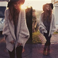 Women Sweater Batwing Long Sleeve Thick Casual Knitted Pullovers Winter - Khaki