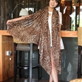 Cheap Leopard Print Scarf Shawls Women Winter Warm Chiffon Panties 200*150CM - Brown