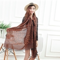 Cheap Leopard Print Scarf Shawls Women Winter Warm Cotton Panties 200*70CM - Brown