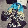 Colorful Leopard Print Scarf Shawls Women Winter Warm Silk Panties 180*100CM - Blue