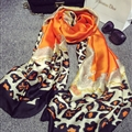 Colorful Leopard Print Scarf Shawls Women Winter Warm Silk Panties 180*100CM - Orange