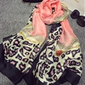 Colorful Leopard Print Scarf Shawls Women Winter Warm Silk Panties 180*100CM - Pink