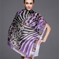 Colorful Leopard Print Scarf Shawls Women Winter Warm Silk Panties 180*110CM - Purple