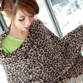 Fashion Fringed Leopard Print Scarf Scarves For Women Winter Warm Wool Panties 220*50CM - Coffee