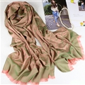 Floral Printed Scarf Shawls Women Winter Warm Cotton Panties 200*70CM - Green