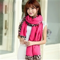 Free Leopard Print Scarves Wrap Women Winter Warm Polyester Panties 190*100CM - Rose