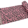 Fringed Leopard Print Scarves Wrap Women Winter Warm Acrylic Panties 195*60CM - Pink