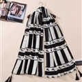 Fringed Zebra Print Scarf Scarves For Women Winter Warm Cotton Panties 180*110CM - Black