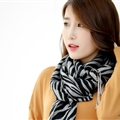 Fringed Zebra Print Scarf Scarves For Women Winter Warm Cotton Panties 190*58CM - Black