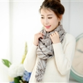 Fringed Zebra Print Scarf Scarves For Women Winter Warm Cotton Panties 190*58CM - Grey