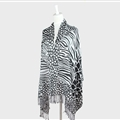Fringed Zebra Print Scarves Wrap Women Winter Warm Acrylic Panties 190*70CM - Black