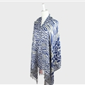 Fringed Zebra Print Scarves Wrap Women Winter Warm Acrylic Panties 190*70CM - Blue