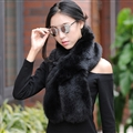 Funky Bridal Fur Scarf Shawls Women Winter Warm Solid Panties 120*20CM - Black