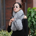 Funky Bridal Fur Scarf Shawls Women Winter Warm Solid Panties 120*20CM - Grey