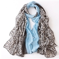 Leopard Print Scarf Scarves For Women Winter Warm Cotton Panties 180*90CM - Blue