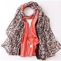 Leopard Print Scarf Scarves For Women Winter Warm Cotton Panties 180*90CM - Red