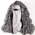 Leopard Print Scarf Scarves For Women Winter Warm Cotton Panties 180*90CM - White
