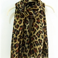 Leopard Print Scarf Scarves For Women Winter Warm Cotton Panties 195*100CM - Coffee