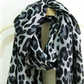 Leopard Print Scarf Scarves For Women Winter Warm Cotton Panties 195*100CM - Grey