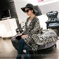 Leopard Print Scarves Wrap Women Winter Warm Cashmere Panties 200*120CM - Black