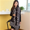 Plaid Leopard Print Scarves Wrap Women Winter Warm Cashmere Panties 190*65CM - Black
