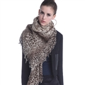 Popular Leopard Print Scarf Shawls Women Winter Warm Wool Panties 180*70CM - Beige