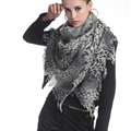 Popular Leopard Print Scarf Shawls Women Winter Warm Wool Panties 180*70CM - Grey