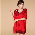 Pretty Bridal Fringed Floral Wool Scarf Shawls Women Winter Warm Solid Panties 200*70CM - Red