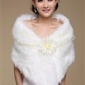 Pretty Bridal Lace Floral Rabbit Wool Scarf Shawls Women Winter Warm Solid Panties 100*30CM - White