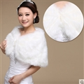 Pretty Bridal Pearl Rabbit Wool Scarf Shawls Women Winter Warm Solid Panties 100*30CM - White