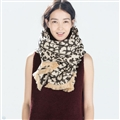 Pretty Leopard Print Scarf Shawls Women Winter Warm Cashmere Panties 190*70CM - Beige