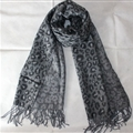 Pretty Leopard Print Scarf Shawls Women Winter Warm Cashmere Panties 200*70CM - Grey