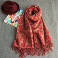 Pretty Leopard Print Scarf Shawls Women Winter Warm Cashmere Panties 200*70CM - Red